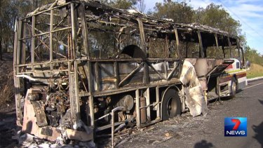 What remains of a bus that caught fire on the Warrego Highway on Tuesday. Photo: Seven News.