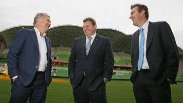 Calm before the Storm: Gerry Ryan, Bart Campbell and Matthew Tripp at AAMI Park in Melbourne.
