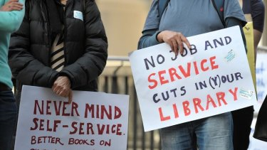 About 60 students, library and academic staff protested against the cuts.