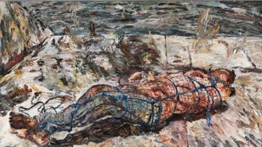 Foretaste of horror: Salvage 1990-92, oil on canvas, 170 x 250cm,  Hazelhurst Gallery.