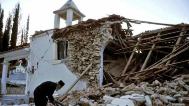 The quake badly damaged this church in the Peloponnese village of Valmi.