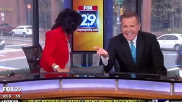 Amused: Sheinelle Jones and Mike Jerrick.