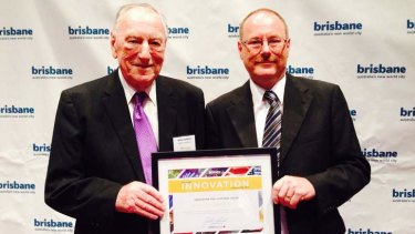 Arthur Goddard, 93, with son Chris, were honoured at Brisbane's Innovation Scorecard lunch. Their Geebung-based manufacturing business, Vehicle Components, was one of 12 businesses recognised.