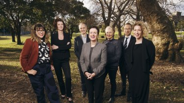 The Council of the City of Sydney independant candidates, pictured with Lord Mayor Clover Moore. Left to right: Jess Scully, Catherine Lezer, Philip Thalis, Clover Moore, Kerryn Phelps, Robert Kok and Jess Miller.