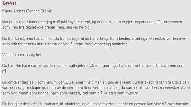 Open letter ... Ivar Benjamin Oesteboe has written to Anders Behring Breivik.