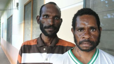 AIDS sufferers ... L. Jackson, left, and R. Umbo Wonda are being treated at a clinic in Jayapura, where witchcraft and black magic are blamed for its spread.