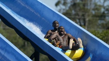 West Indian cricketers enjoy Wet n' Wild in 2005.