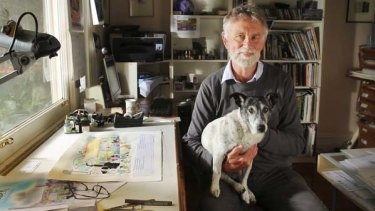 Bob Graham in his studio with his little mate Maggie.