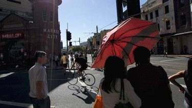 Hot in the city: Haymarket is the warmest part of the CBD.