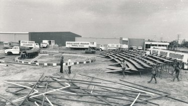 It took 100 men six hours to erect a circus tent for Sole Brothers in Dandenong, the storm took 60 seconds to wreck it.