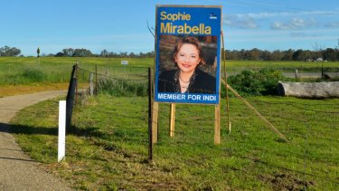 Hard to find: The only sign of Sophie Mirabella today.