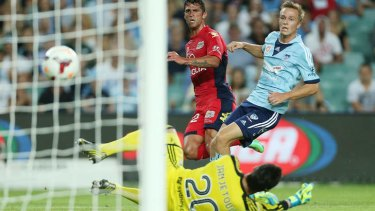 Fabio Ferreira scores Adelaide's second goal of the night.