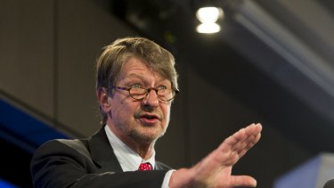 P.J.O'Rourke at the National Press Club in Canberra on Wednesday.