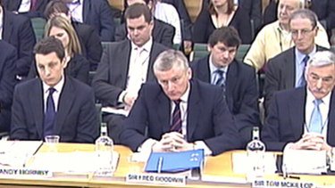 Please explain ... Fred Goodwin and other bank cheifs appear before a parliamentary committee in 2009.