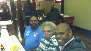 In the community: Retired Rabbitohs fullback Rhys Wesser at Souths Cares' Share the Meal breakfast in Redfern.