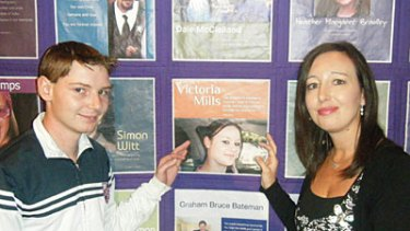 Memories of happy times... Victoria's boyfriend, Daniel, with Cindy and the Lifekeeper Memory Quilt.