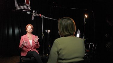 Julia Gillard is interviewed by Sarah Ferguson for <i>The Killing Season</i>.