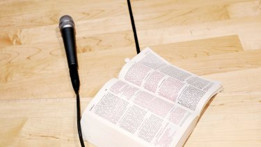 Shane Claiborne's Bible sits next to a microphone at Heritage High School in Lynchburg, Va., April 7, 2018. Claiborne and his evangelical group, the Red Letter Christians, have fierce moral and theological objections to those evangelicals who have latched onto President Donald Trump and the Republican Party. (Travis Dove/The New York Times) Claiborne