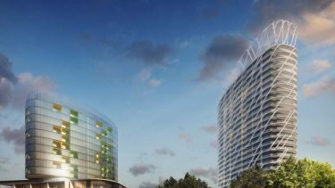 An artist's impression of two of the apartment towers planned on land owned by Victoria Racing Club.