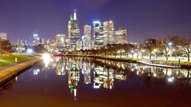 Melbourne at night from the Yarra River.
