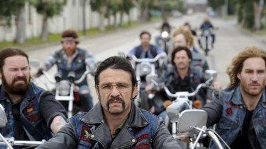 Bikie Wars ... Anthony Hayes, Matthew Nable and Callan Mulvey hit the road as bikies.