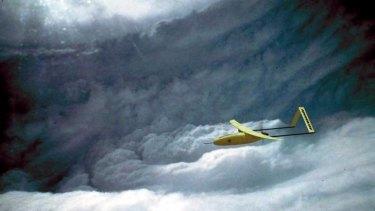Aerosonde robotic aircraft (instrument) in a simulated flight into a tropical cyclone.