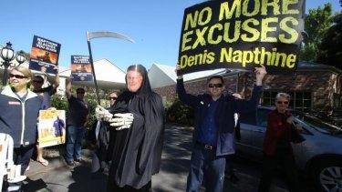 Protesters outside the Ballarat Lodge.