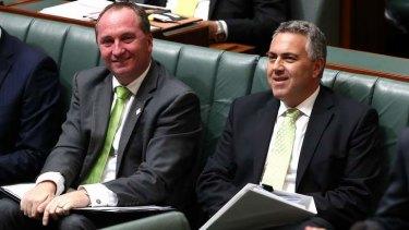 Agriculture Minister Barnaby Joyce and Treasurer Joe Hockey during QT. Photo: Alex Ellinghausen