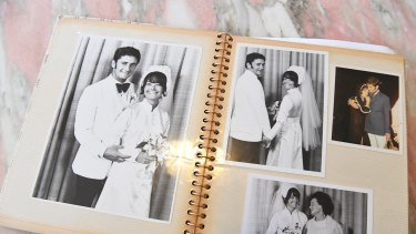Paul White's photo album showing images of his wedding to Lynette before she was killed in 1973.
