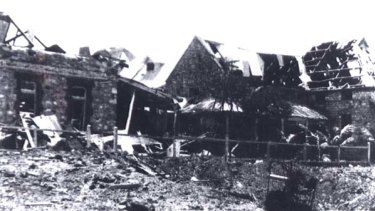 Scenes of destruction in Darwin after a Japanese bombing raid in World War 2.