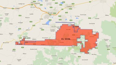 The location of four new coal exploration licenses granted by the Andrews government.