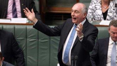 Deputy Prime Minister Warren Truss during Question Time on Thursday. Photo: Alex Ellinghausen