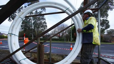 Underground work on the NBN in Armidale, New South Wales.