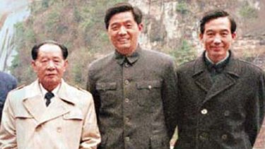 """Working for """"the happiness of the people"""" ...  Hu Yaobang, left, with the  future leaders Hu Jintao, centre, and Wen Jiabao in 1986."""