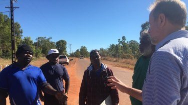 Indigenous Affairs Minister Nigel Scullion is questioned by Borroloola locals over the Don Dale Youth Detention Centre.