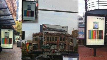 Photos of iPad 2 advertising around Sydney's CBD.