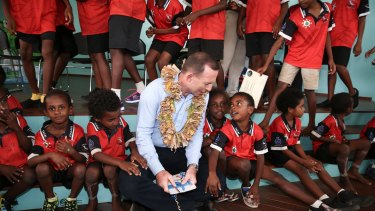 Prime Minister Tony Abbott meets with students from Tagai State College on Mer Island