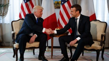 """Macron's handshake with US President Donald Trump was """"a powerful moment""""."""