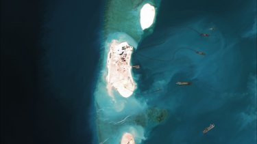 China's reclamation efforts on Mischief reef in the Spratly Islands seen in this photo from March.
