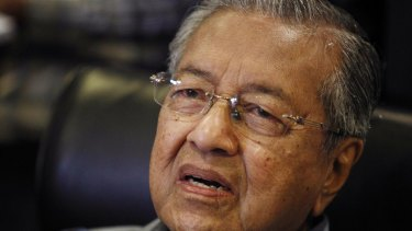 Former Malaysian prime minister Mahathir Mohamad at his news conference on Monday.