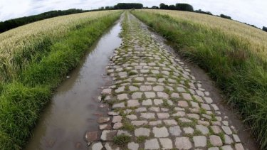 Cobble trouble: A cobblestone-paved section in Orchies, northern France which is part of  of Wednesday's fifth stage of the Tour de France.