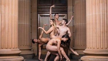 Nude Live: Sydney Dance Company members Dave Mack, Fiona Jopp, Olivia Kingston, Zachary Lopez and Izzac Carroll perform at the Art Gallery of NSW.