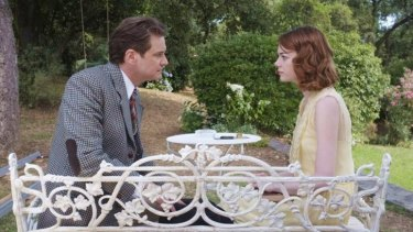 Emma Stone with Colin Firth in <i>Magic in the Moonlight</i>.
