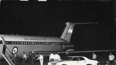 Former Prime Minister Whitlam arriving at Cairns Airport in '74.