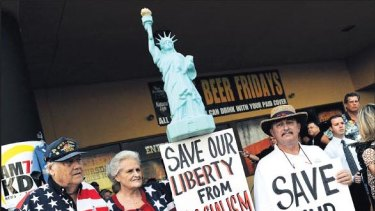 Red alert ... As the Tea Party Express tours key campaign states, protesters turn out in Las Vegas, Nevada.