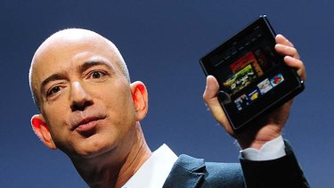Amazon CEO Jeff Bezos introduces the new Kindle Fire tablet in New York.