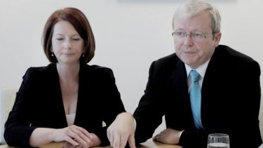 """Julia Gillard says that Kevin Rudd asked to be reinstated as foreign affairs minister after his failed leadership challenge in 2012, a request that Gillard describes as """"impossible""""."""