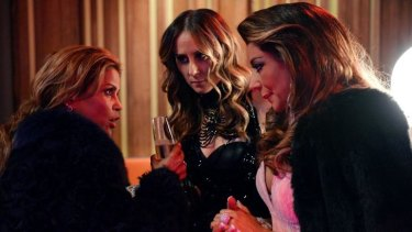 'What language to you actually speak?' ... Awkward first meeting between Pettifleur (left), and Jackie (middle) and Gina (right) at Janet's party.