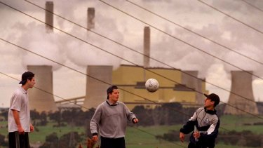 Eyrie … former Falcons, from left, Michael Katz, Sandy Robertson and Robbie Puca gather near Hazelwood.