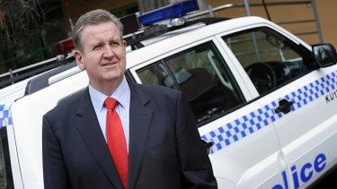 Law man ... Opposition Leader Barry O'Farrell ''on patrol'' outside Gordon police station yesterday.